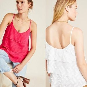 NWT $90 Anthropologie Pink Ameline Tiered Cami M